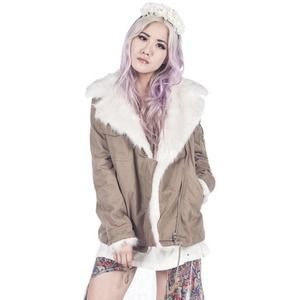 UNIF Faux Fur Army Sherpa Jacket Size Small